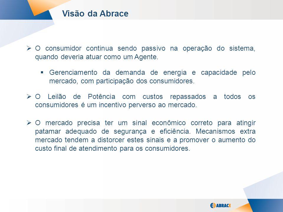 6 Visão da Abrace O consumidor continua sendo passivo na operação do sistema, quando deveria atuar como um Agente. Gerenciamento da demanda de energia