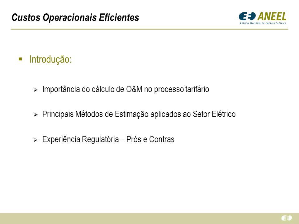 Custos Operacionais Eficientes Introdução: Importância do cálculo de O&M no processo tarifário Principais Métodos de Estimação aplicados ao Setor Elét