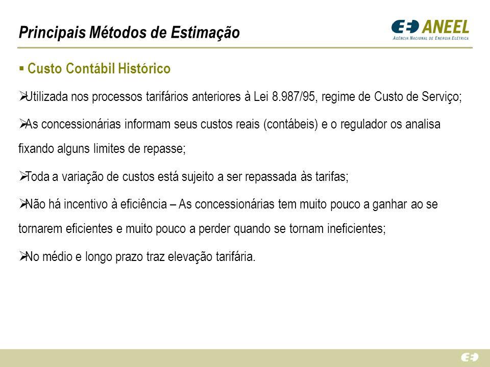 Principais Métodos de Estimação Custo Contábil Histórico Utilizada nos processos tarifários anteriores à Lei 8.987/95, regime de Custo de Serviço; As