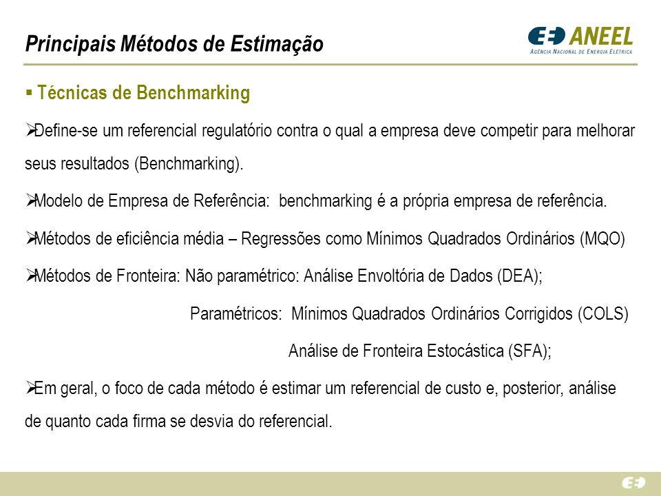Principais Métodos de Estimação Técnicas de Benchmarking Define-se um referencial regulatório contra o qual a empresa deve competir para melhorar seus