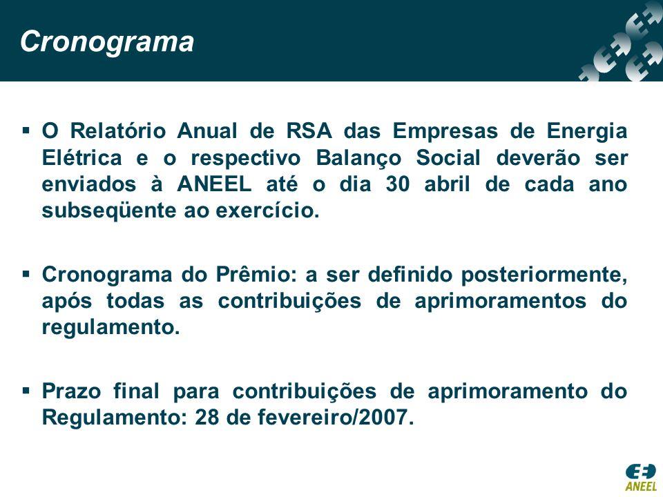 Cronograma O Relatório Anual de RSA das Empresas de Energia Elétrica e o respectivo Balanço Social deverão ser enviados à ANEEL até o dia 30 abril de