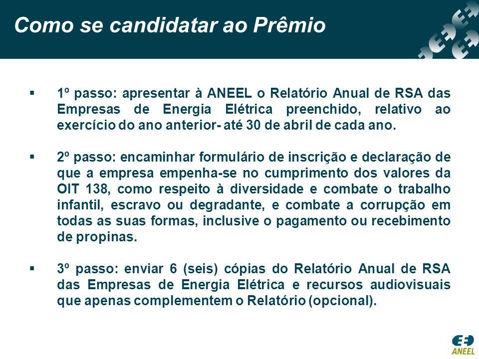 1º passo: apresentar à ANEEL o Relatório Anual de RSA das Empresas de Energia Elétrica preenchido, relativo ao exercício do ano anterior- até 30 de ab