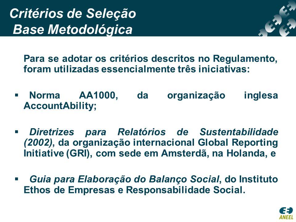 Critérios de Seleção Base Metodológica Para se adotar os critérios descritos no Regulamento, foram utilizadas essencialmente três iniciativas: Norma A