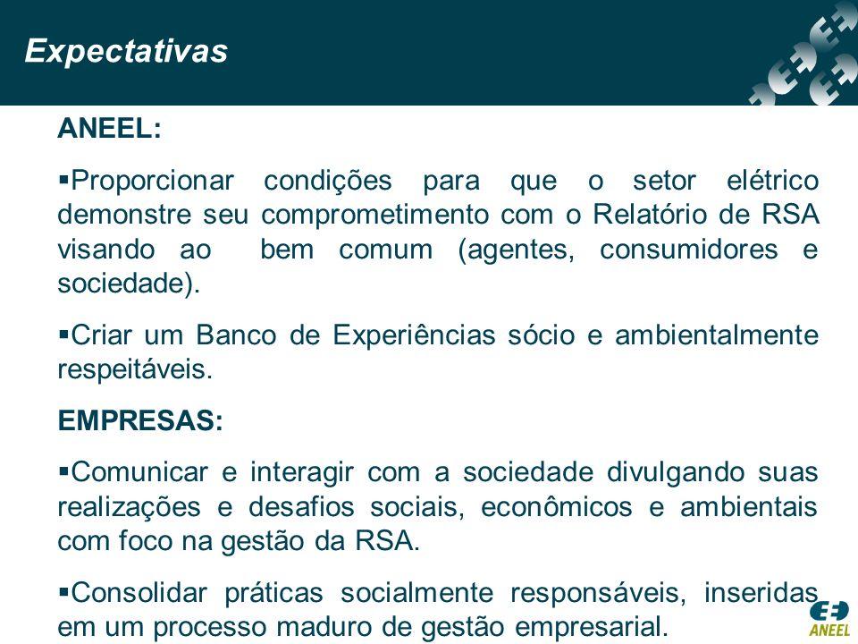 ANEEL: Proporcionar condições para que o setor elétrico demonstre seu comprometimento com o Relatório de RSA visando ao bem comum (agentes, consumidor