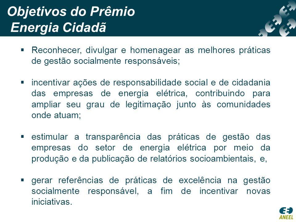 Público Alvo Empresas de distribuição de energia elétrica do Brasil (primeira edição do Prêmio – 2008).