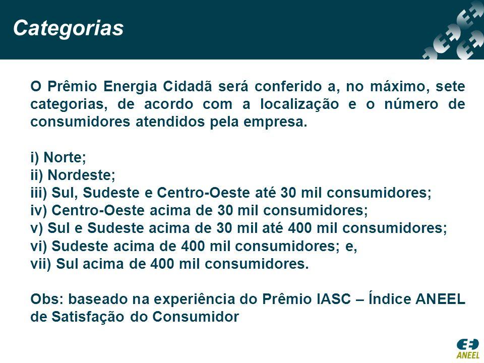Categorias O Prêmio Energia Cidadã será conferido a, no máximo, sete categorias, de acordo com a localização e o número de consumidores atendidos pela