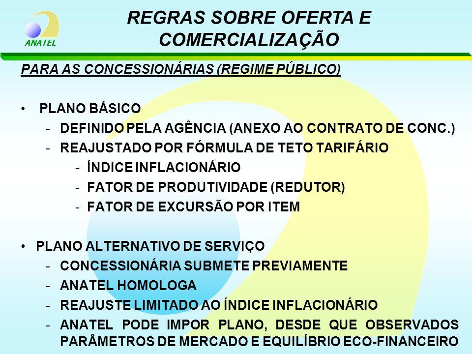 ANATEL PARA AS CONCESSIONÁRIAS (REGIME PÚBLICO) PLANO BÁSICO -DEFINIDO PELA AGÊNCIA (ANEXO AO CONTRATO DE CONC.) -REAJUSTADO POR FÓRMULA DE TETO TARIF