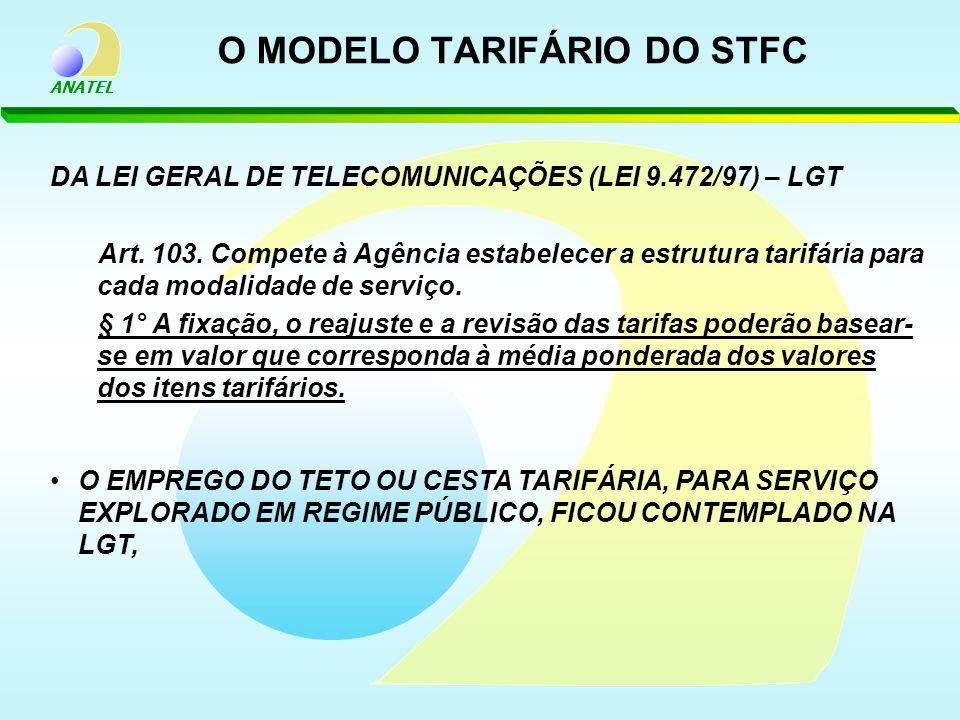 ANATEL O MODELO TARIFÁRIO DO STFC DA LEI GERAL DE TELECOMUNICAÇÕES (LEI 9.472/97) – LGT Art. 103. Compete à Agência estabelecer a estrutura tarifária