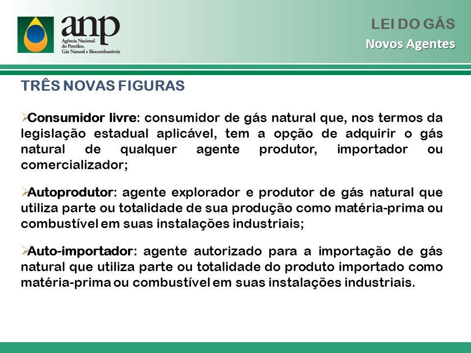 TRÊS NOVAS FIGURAS Consumidor livre: consumidor de gás natural que, nos termos da legislação estadual aplicável, tem a opção de adquirir o gás natural