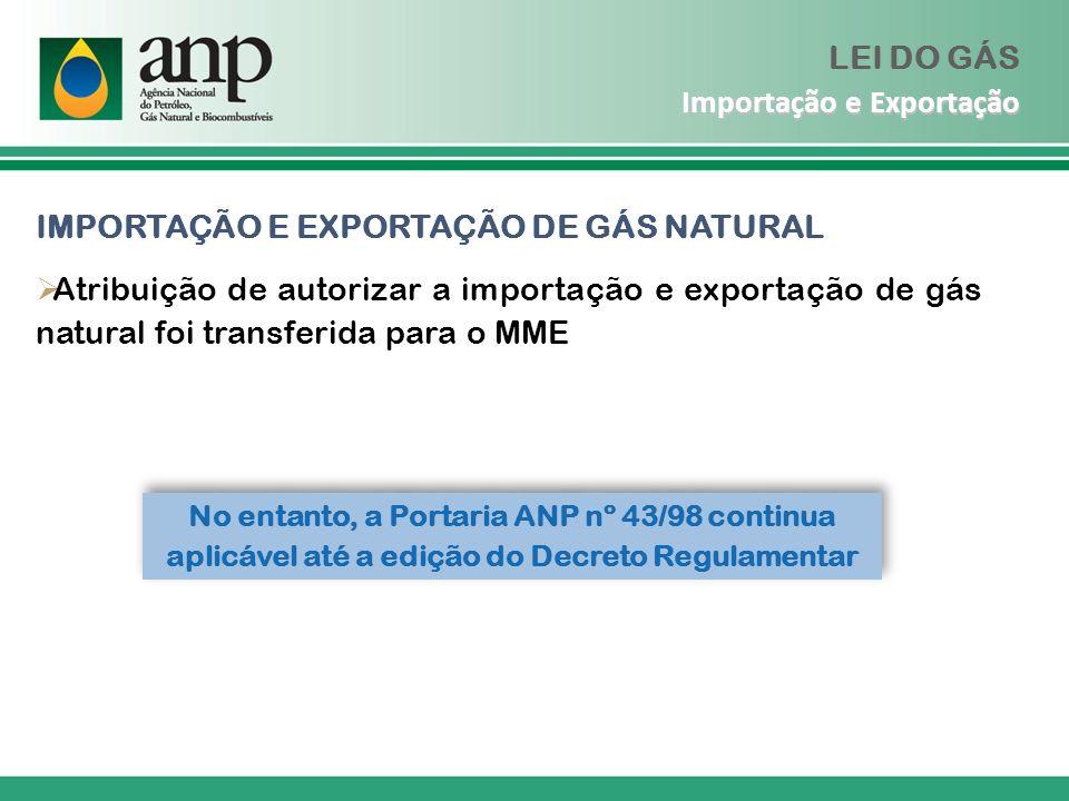 No entanto, a Portaria ANP nº 43/98 continua aplicável até a edição do Decreto Regulamentar IMPORTAÇÃO E EXPORTAÇÃO DE GÁS NATURAL Atribuição de autor