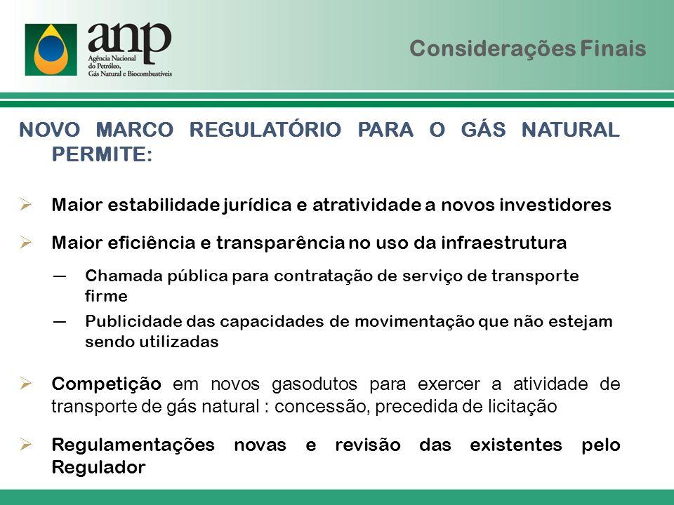 Considerações Finais NOVO MARCO REGULATÓRIO PARA O GÁS NATURAL PERMITE: Maior estabilidade jurídica e atratividade a novos investidores Maior eficiênc
