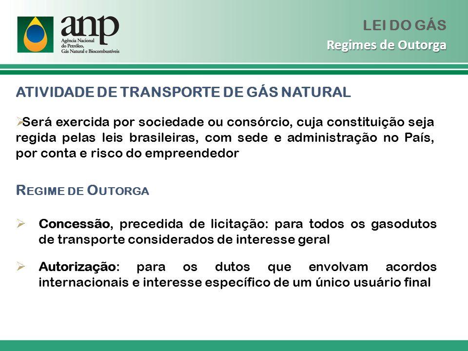 GASODUTOS DE TRANSFERÊNCIA Regime de autorização REGIMES DE CONSUMO DE GÁS E EXPLORAÇÃO DE GASODUTOS Manutenção dos atuais regimes: (i) de consumo de gás natural em unidades de produção de fertilizantes e instalações de refinação existentes em 04/03/09; e (ii) de exploração dos gasodutos que, em 04/03/09, realizem o suprimento de gás a estas unidades e instalações de refinação LEI DO GÁS Outros Regimes
