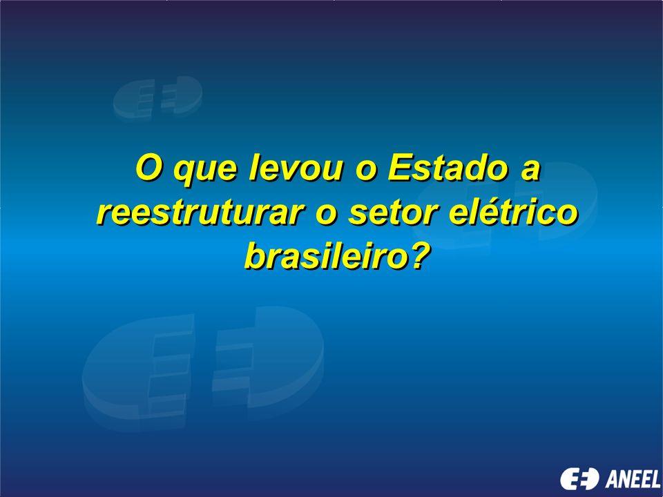 Objetivo Fazer uma reflexão sobre a regulação e o desenvolvimento do setor elétrico brasileiro, sobre a ótica do regulador, e avaliar os aspectos estr