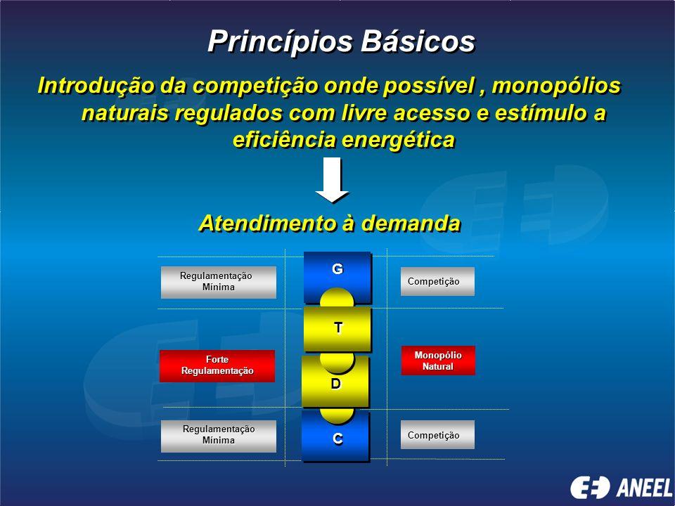 Estabelecimento de novo marco legal que considere os princípios da reestruturação do setor, a criação de órgão regulador autônomo, um ambiente de negó