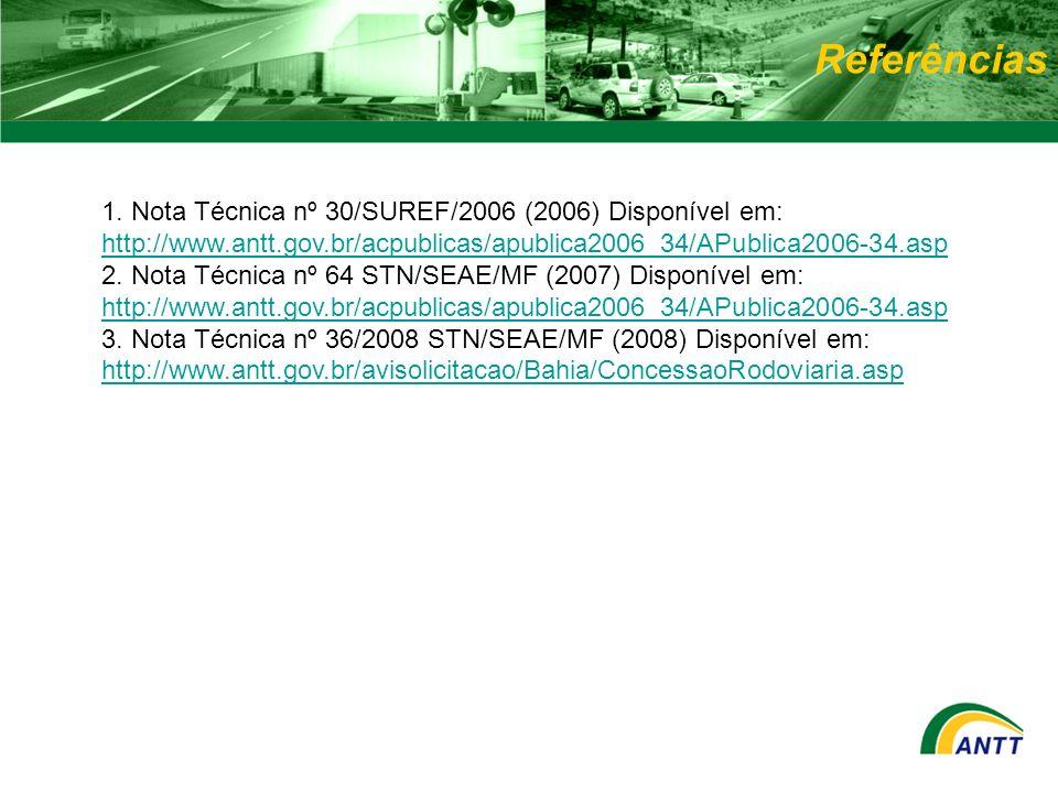 Referências 1. Nota Técnica nº 30/SUREF/2006 (2006) Disponível em: http://www.antt.gov.br/acpublicas/apublica2006_34/APublica2006-34.asp http://www.an