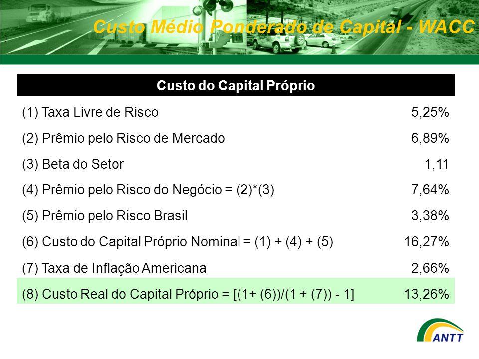 Custo Médio Ponderado de Capital - WACC ) Custo do Capital Próprio (1) Taxa Livre de Risco5,25% (2) Prêmio pelo Risco de Mercado6,89% (3) Beta do Seto