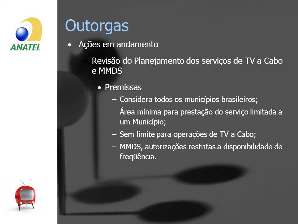 Outorgas Ações em andamento –Revisão do Planejamento dos serviços de TV a Cabo e MMDS Premissas –Considera todos os municípios brasileiros; –Área míni