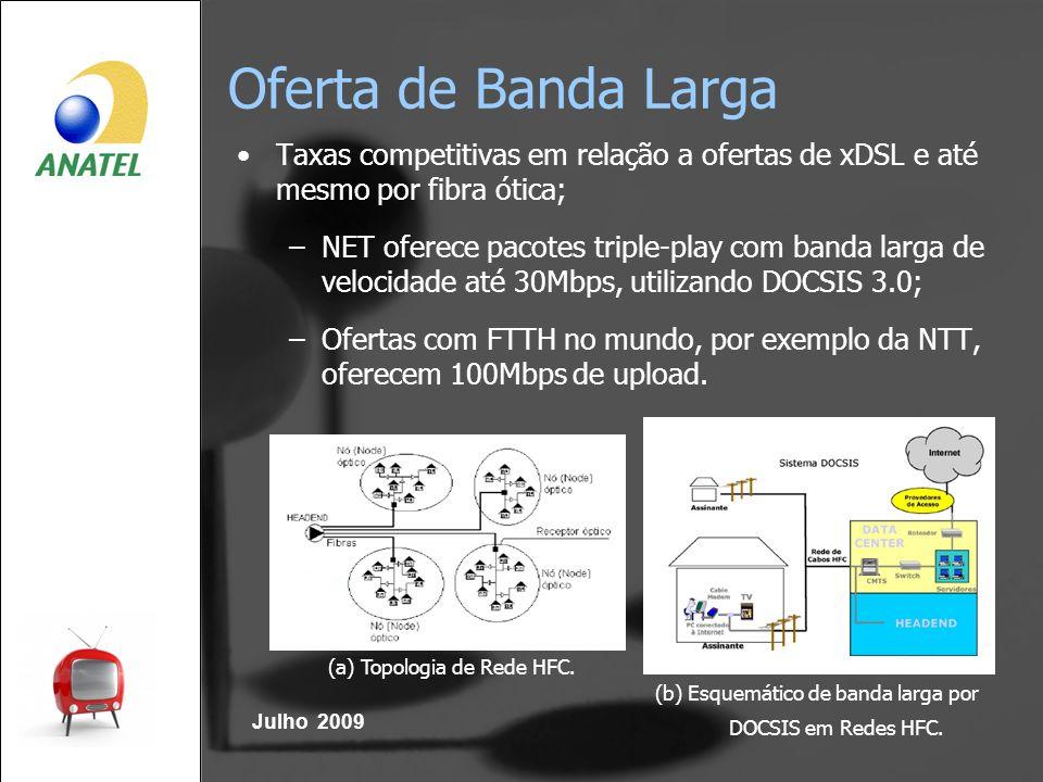 Oferta de Banda Larga Julho 2009 Taxas competitivas em relação a ofertas de xDSL e até mesmo por fibra ótica; –NET oferece pacotes triple-play com ban