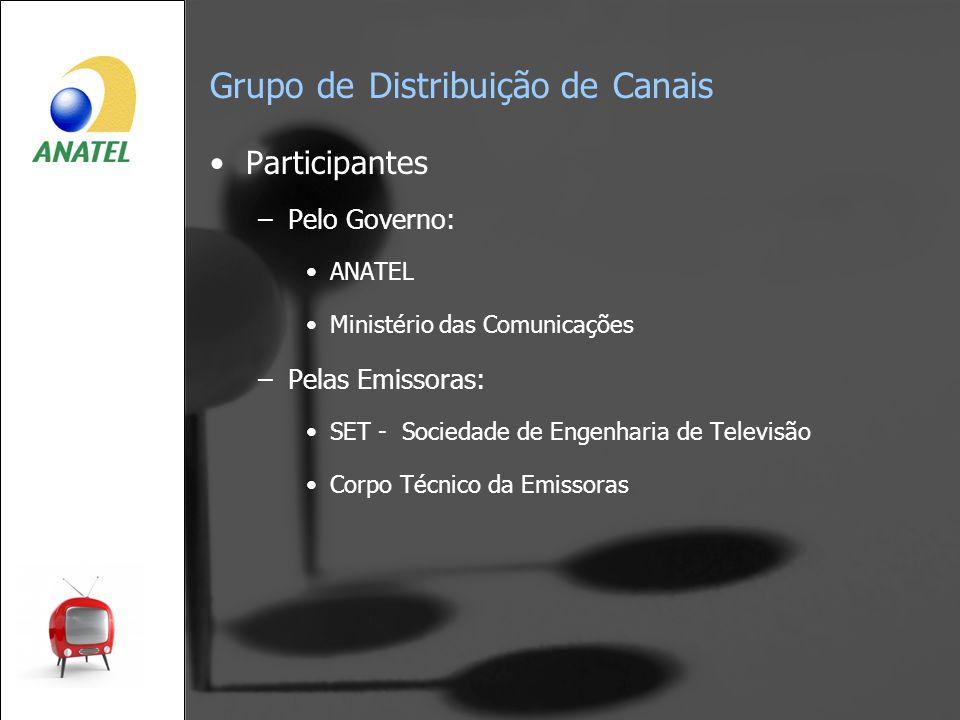Grupo de Distribuição de Canais Participantes –Pelo Governo: ANATEL Ministério das Comunicações –Pelas Emissoras: SET - Sociedade de Engenharia de Tel