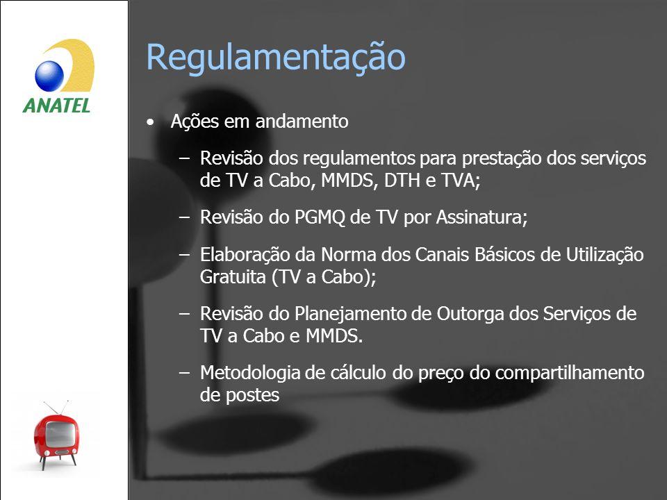 Regulamentação Ações em andamento –Revisão dos regulamentos para prestação dos serviços de TV a Cabo, MMDS, DTH e TVA; –Revisão do PGMQ de TV por Assi