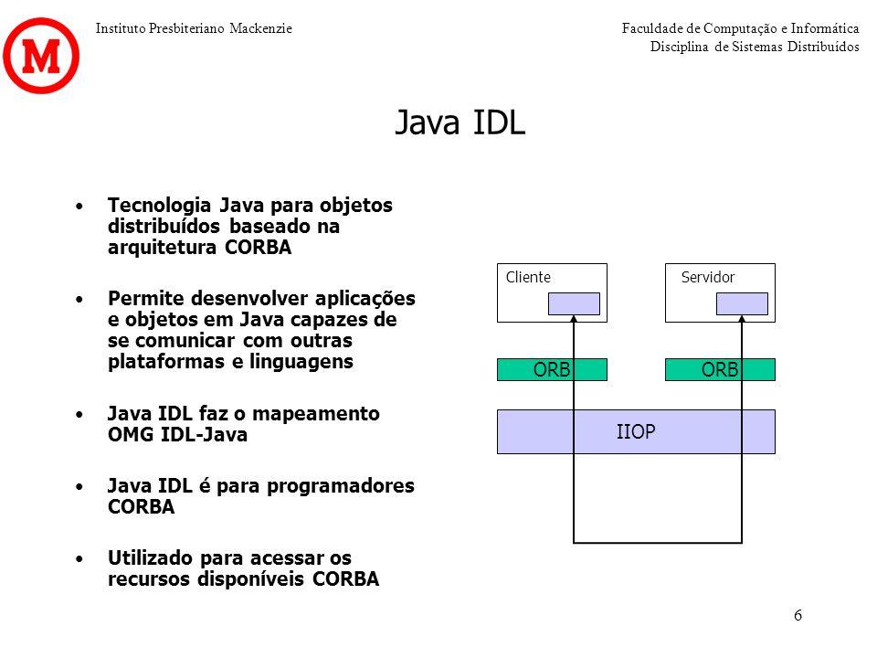 Instituto Presbiteriano MackenzieFaculdade de Computação e Informática Disciplina de Sistemas Distribuídos 6 Java IDL Tecnologia Java para objetos dis