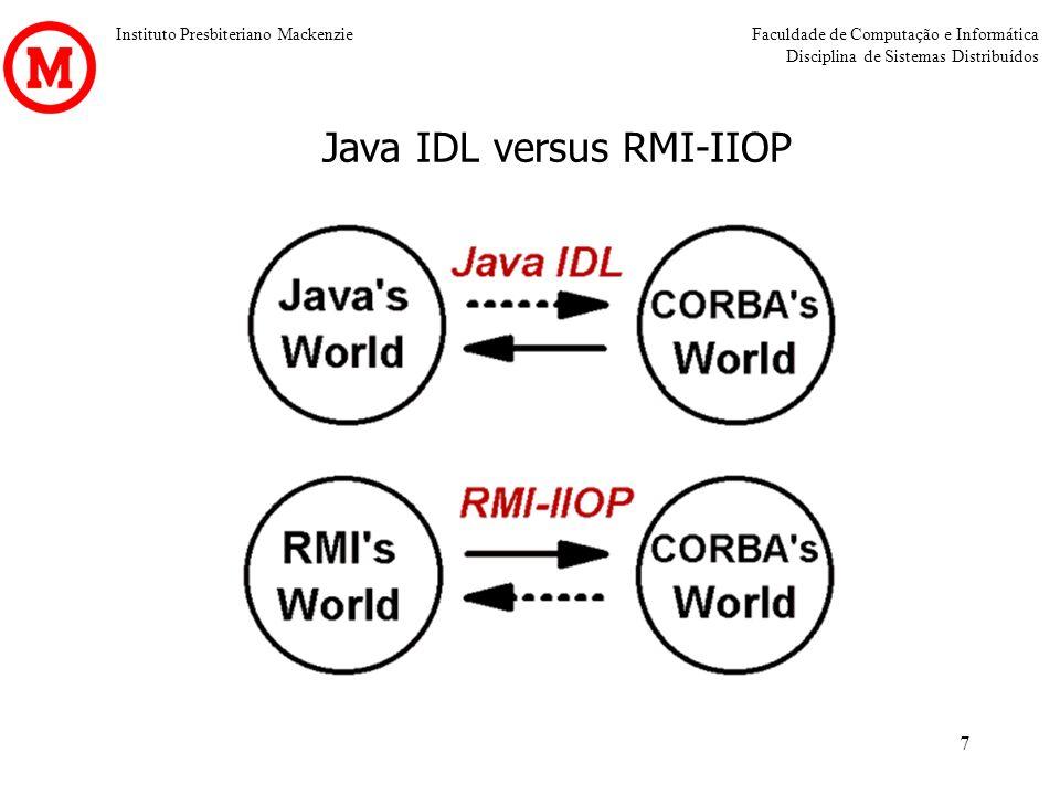Instituto Presbiteriano MackenzieFaculdade de Computação e Informática Disciplina de Sistemas Distribuídos 7 Java IDL versus RMI-IIOP