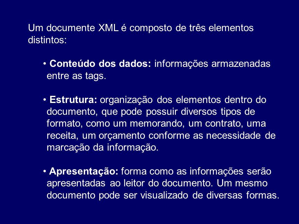 Um documente XML é composto de três elementos distintos: Conteúdo dos dados: informações armazenadas entre as tags. Estrutura: organização dos element