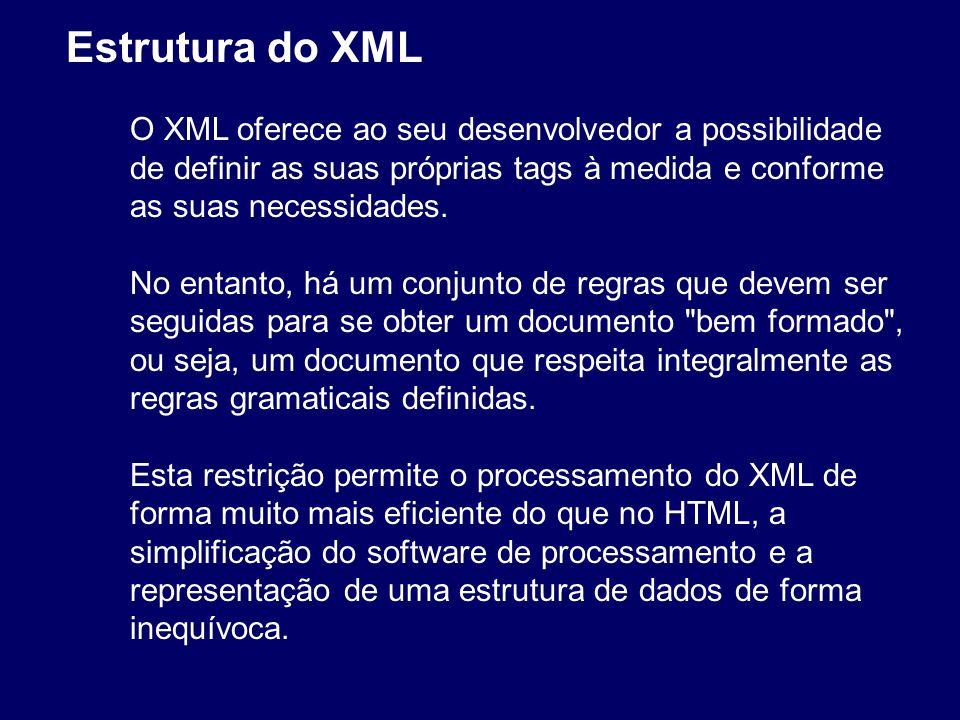 Um documento XML é composto por duas partes distintas: Cabeçalho (facultativo) Árvore de elementos Ex:....