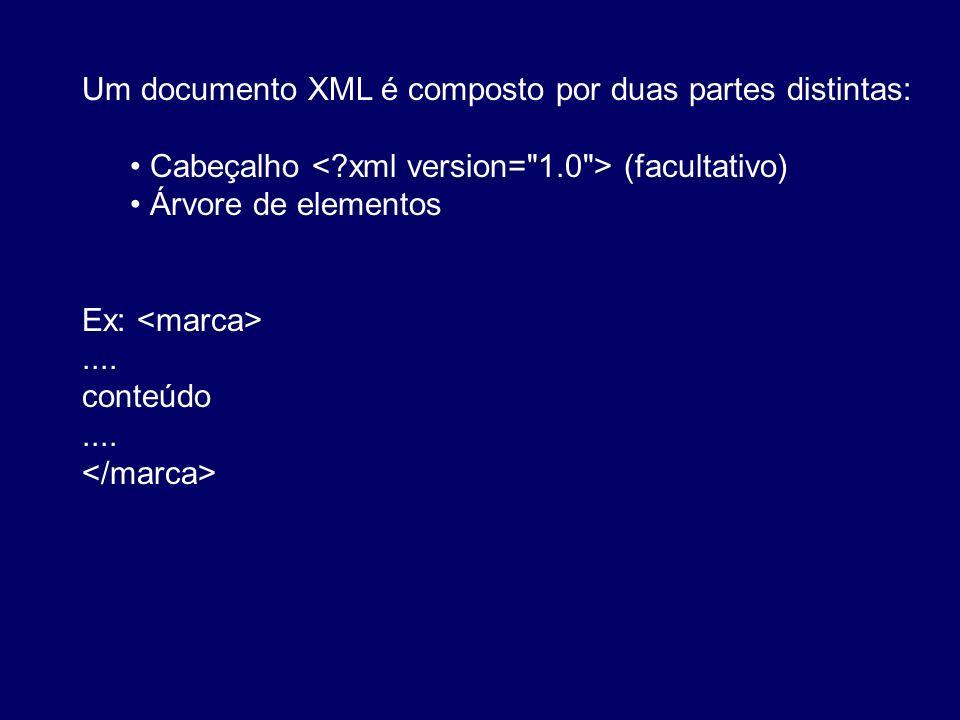Um documento XML é composto por duas partes distintas: Cabeçalho (facultativo) Árvore de elementos Ex:.... conteúdo....