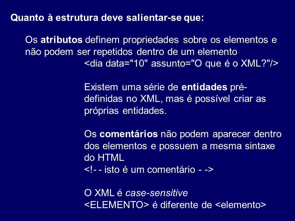 Todos os atributos devem estar entre aspas Todos os elementos devem possuir uma etiqueta de início e de fim Estrutura do XML Todos os elementos devem estar contidos num elemento raiz que identifica o domínio.