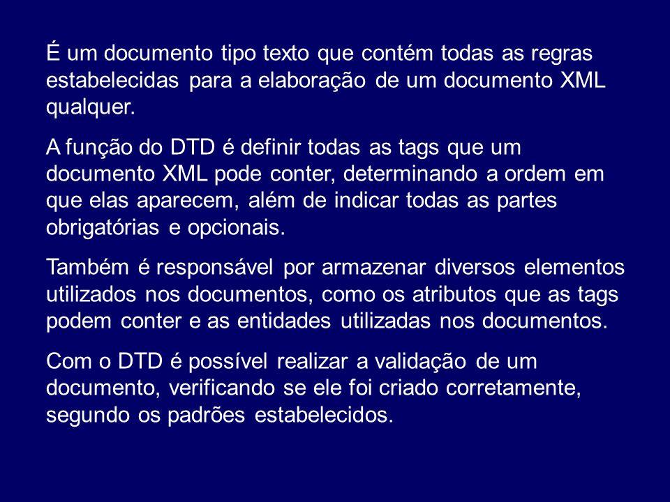 É um documento tipo texto que contém todas as regras estabelecidas para a elaboração de um documento XML qualquer. A função do DTD é definir todas as