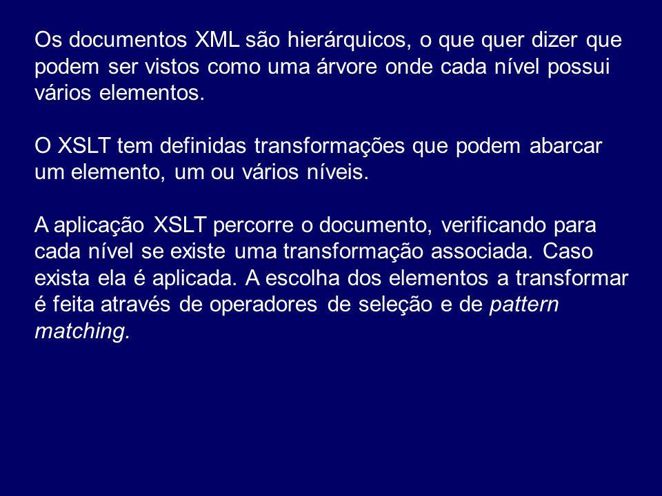 Os documentos XML são hierárquicos, o que quer dizer que podem ser vistos como uma árvore onde cada nível possui vários elementos. O XSLT tem definida
