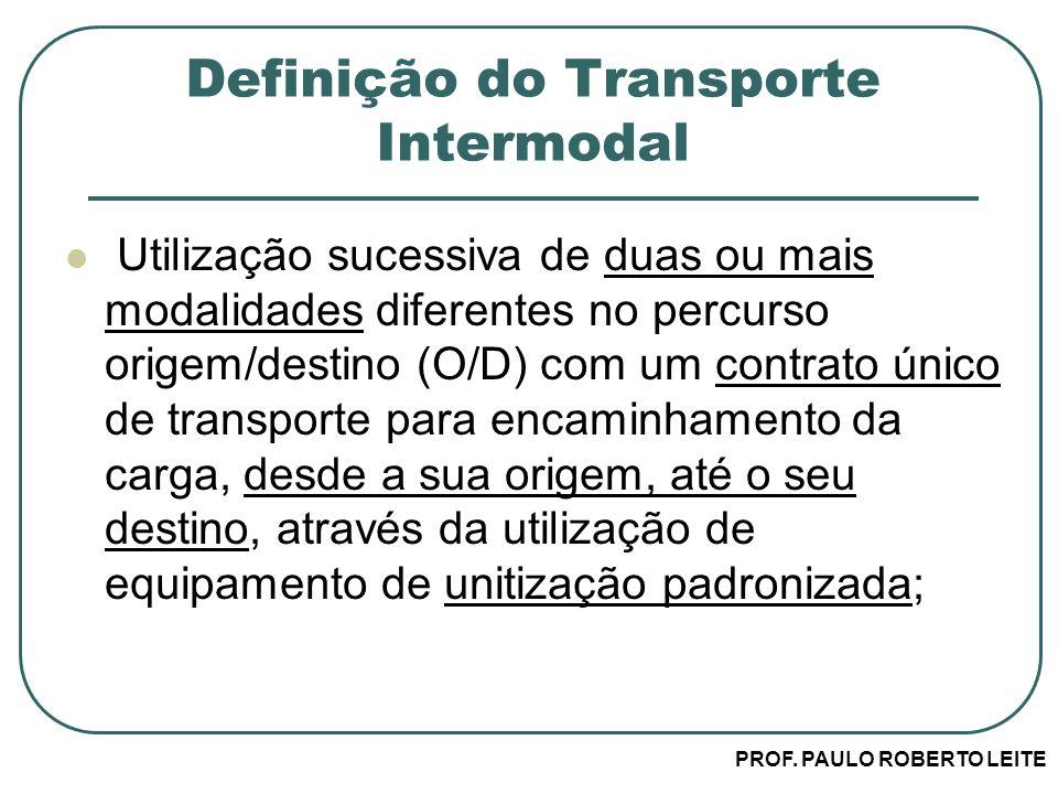 PROF. PAULO ROBERTO LEITE Definição do Transporte Intermodal Utilização sucessiva de duas ou mais modalidades diferentes no percurso origem/destino (O