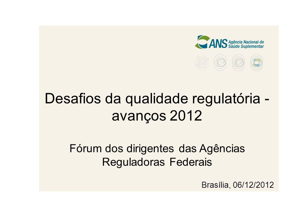 Desafios da qualidade regulatória - avanços 2012 Fórum dos dirigentes das Agências Reguladoras Federais Brasília, 06/12/2012