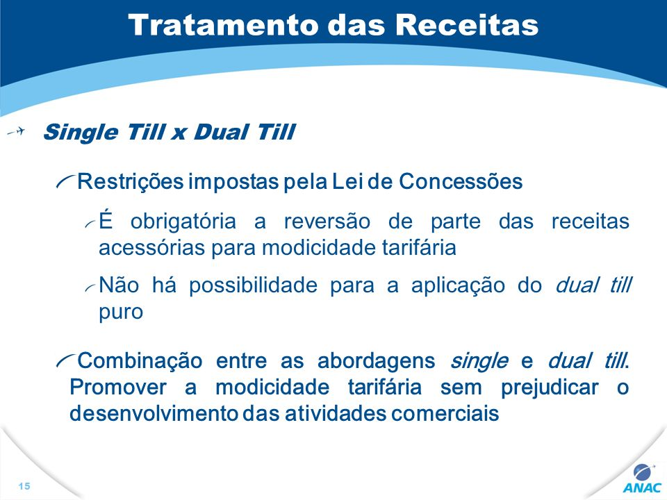 Tratamento das Receitas Single Till x Dual Till Restrições impostas pela Lei de Concessões É obrigatória a reversão de parte das receitas acessórias p