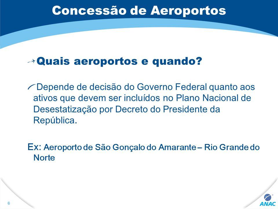 Concessão de Aeroportos Quais aeroportos e quando? Depende de decisão do Governo Federal quanto aos ativos que devem ser incluídos no Plano Nacional d