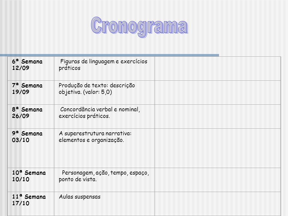 6ª Semana 12/09 Figuras de linguagem e exercícios práticos 7ª Semana 19/09 Produção de texto: descrição objetiva. (valor: 5,0) 8ª Semana 26/09 Concord