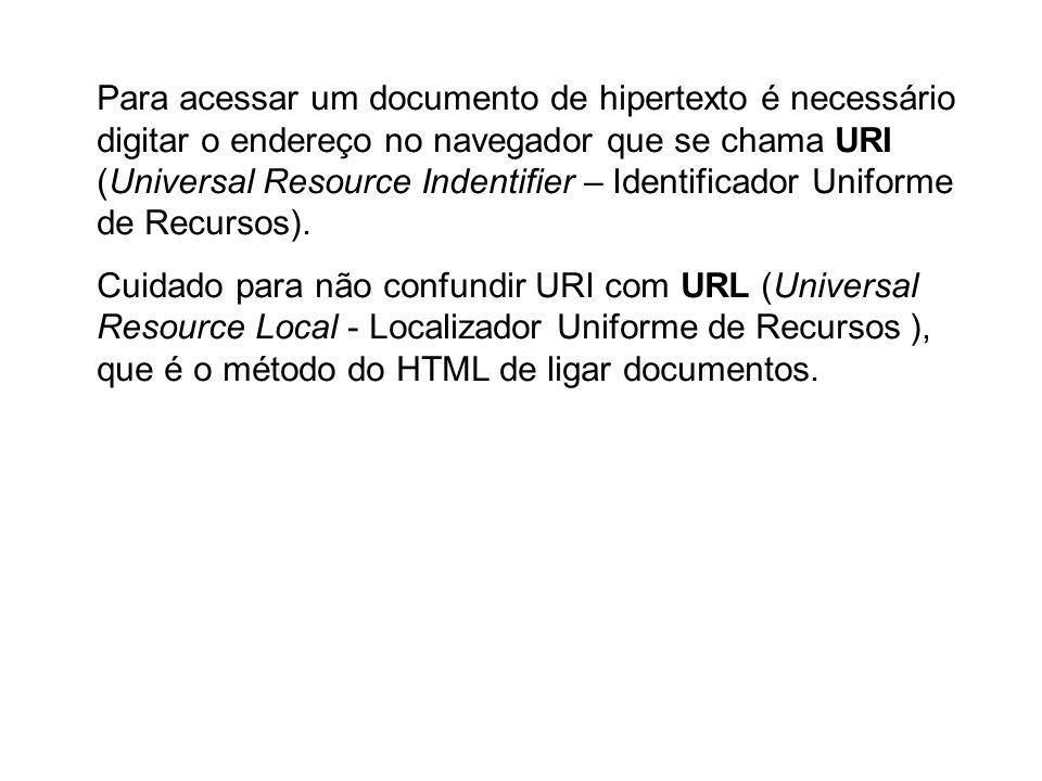 Para acessar um documento de hipertexto é necessário digitar o endereço no navegador que se chama URI (Universal Resource Indentifier – Identificador