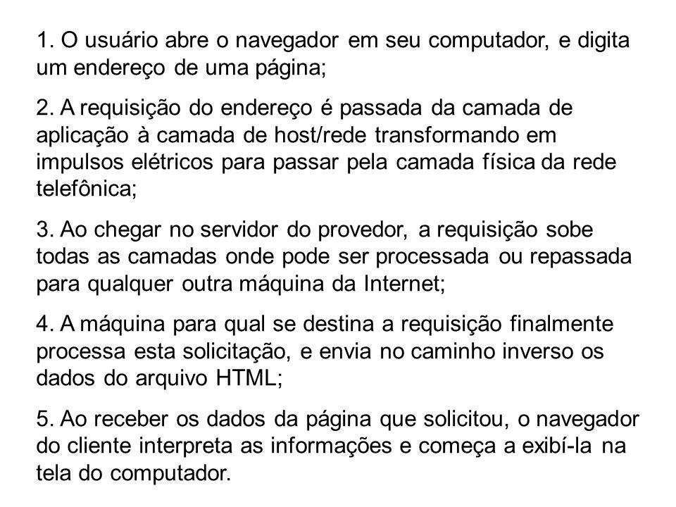 1. O usuário abre o navegador em seu computador, e digita um endereço de uma página; 2. A requisição do endereço é passada da camada de aplicação à ca