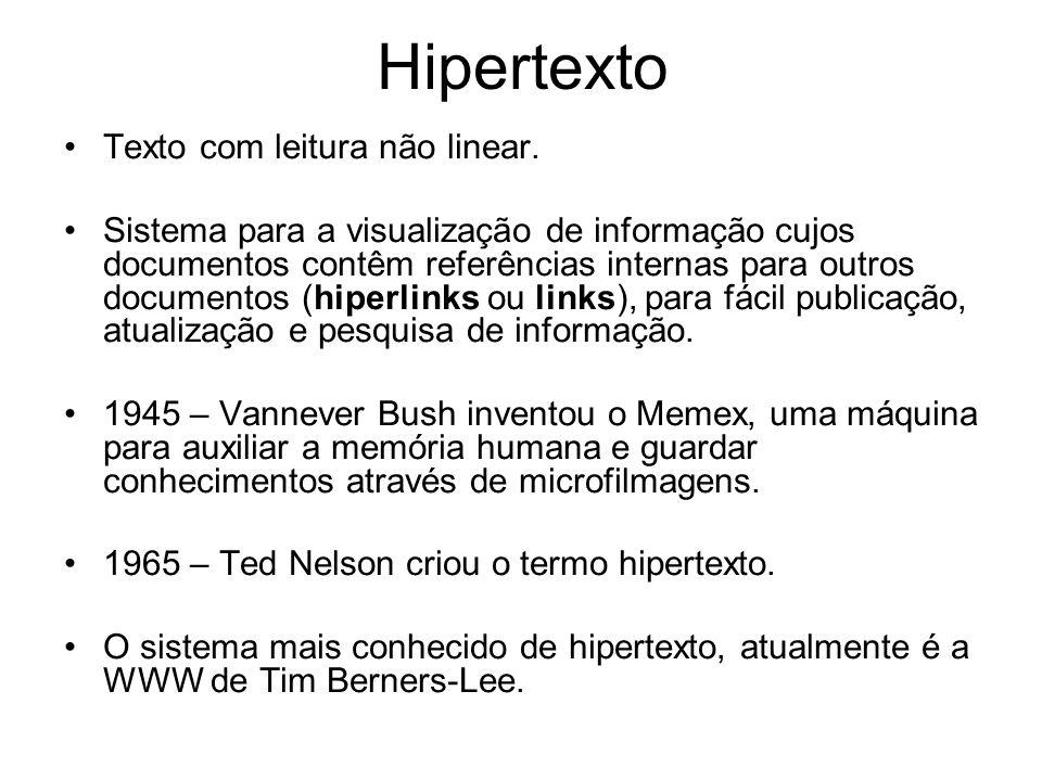 Hipertexto Texto com leitura não linear. Sistema para a visualização de informação cujos documentos contêm referências internas para outros documentos