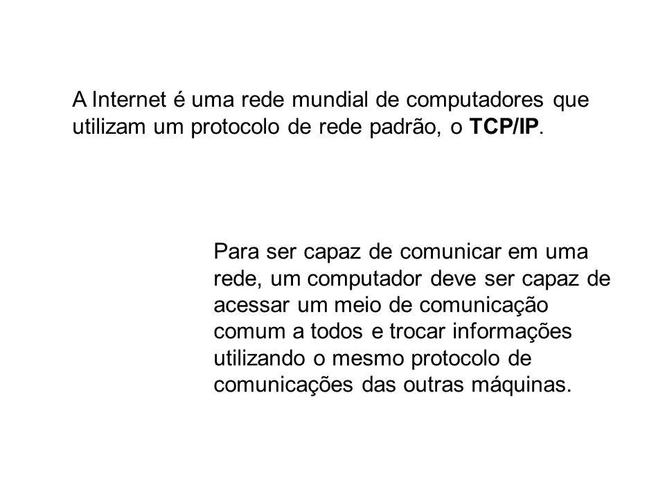 A Internet é uma rede mundial de computadores que utilizam um protocolo de rede padrão, o TCP/IP. Para ser capaz de comunicar em uma rede, um computad