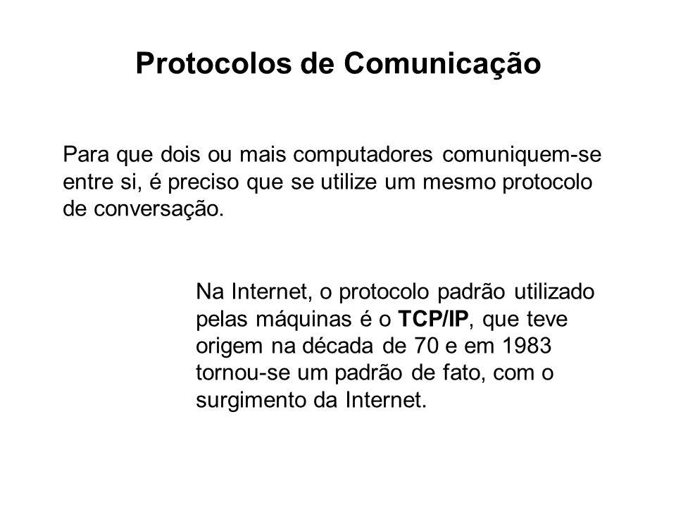 O TCP/IP define uma pilha de camadas de comunicação, cada uma com um protocolo próprio.