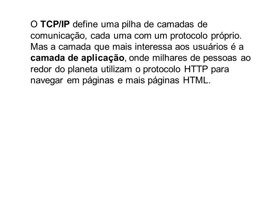Aplicação: HTTP, SMTP, FTP, SSH, IRC, SNMP, NNTP, POP3, IMAP, Telnet, BitTorrent...