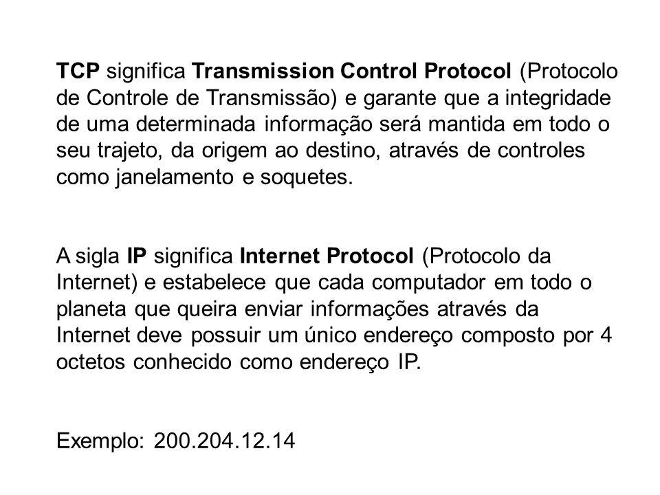 TCP significa Transmission Control Protocol (Protocolo de Controle de Transmissão) e garante que a integridade de uma determinada informação será mant