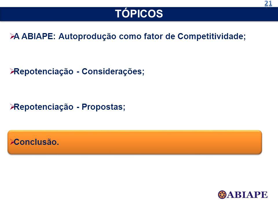 A ABIAPE: Autoprodução como fator de Competitividade; Repotenciação - Considerações; Repotenciação - Propostas; Conclusão. TÓPICOS