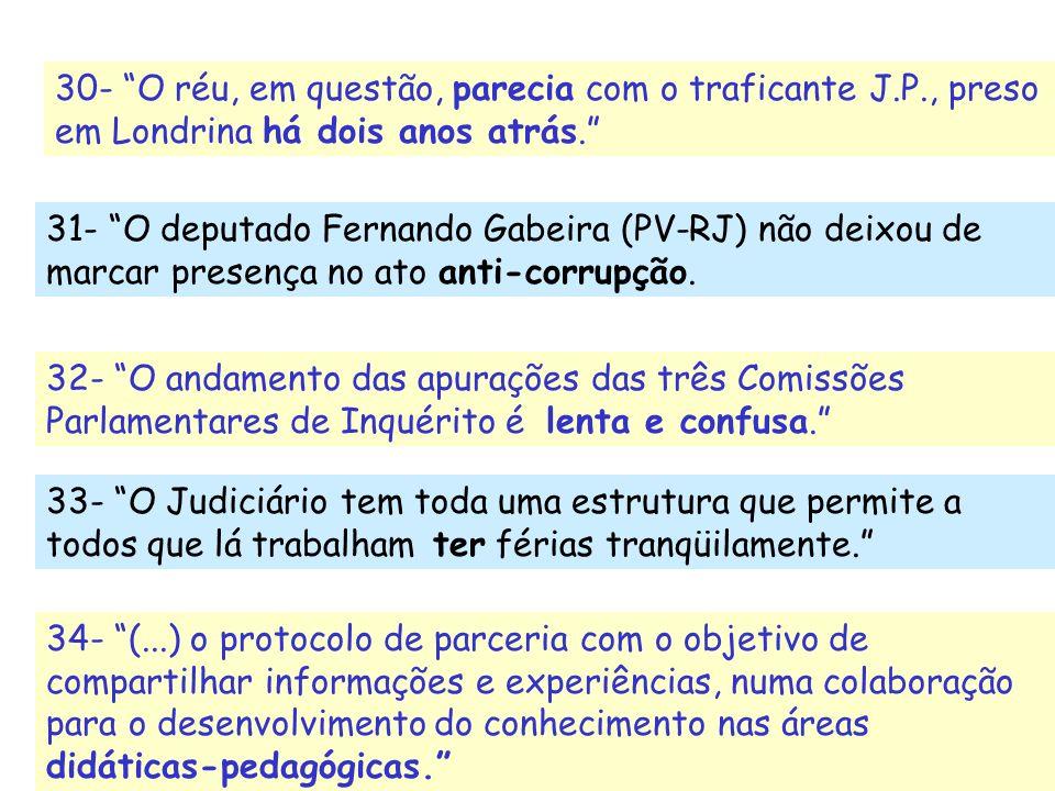 30- O réu, em questão, parecia com o traficante J.P., preso em Londrina há dois anos atrás. 31- O deputado Fernando Gabeira (PV-RJ) não deixou de marc