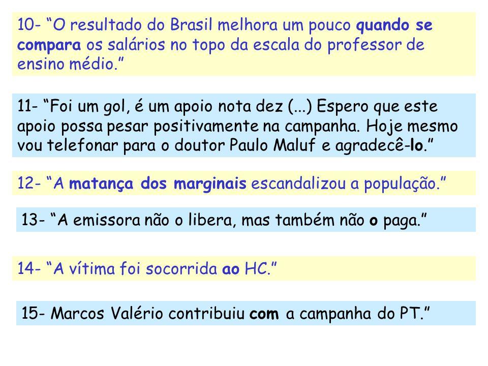 10- O resultado do Brasil melhora um pouco quando se compara os salários no topo da escala do professor de ensino médio. 11- Foi um gol, é um apoio no