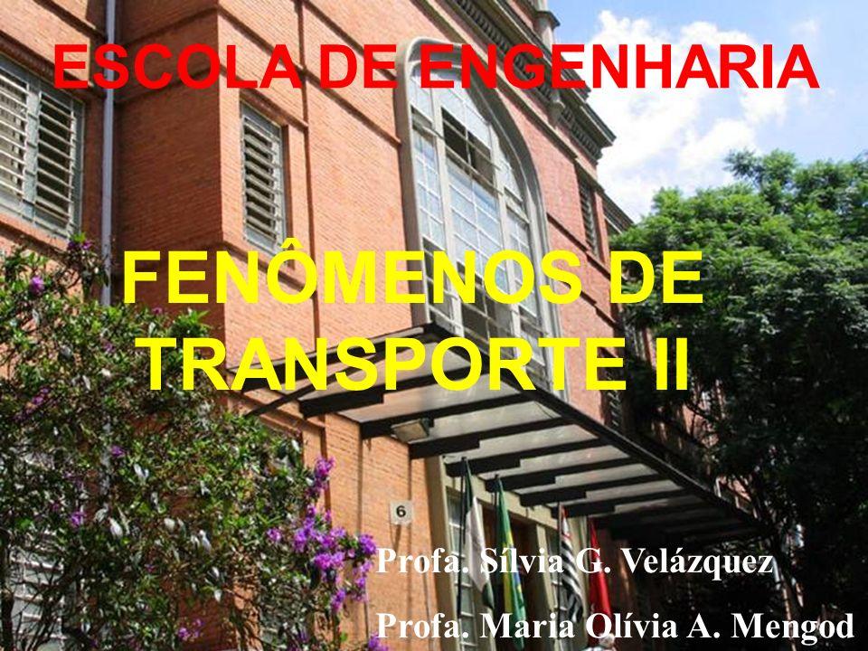 FENÔMENOS DE TRANSPORTE II ESCOLA DE ENGENHARIA Profa. Sílvia G. Velázquez Profa. Maria Olívia A. Mengod