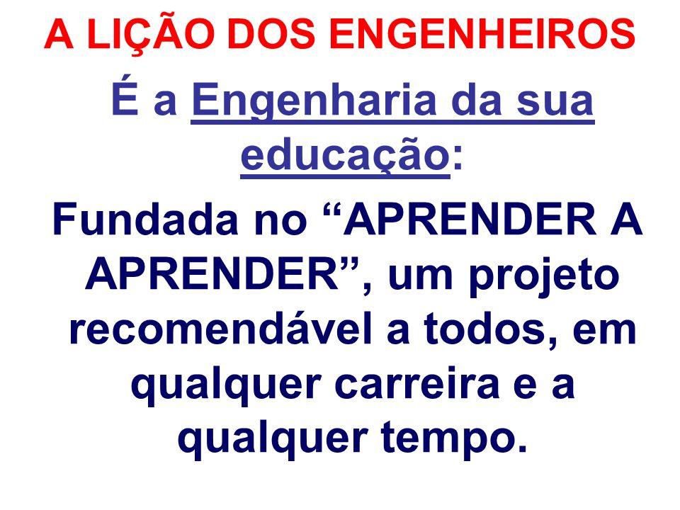 A LIÇÃO DOS ENGENHEIROS É a Engenharia da sua educação: Fundada no APRENDER A APRENDER, um projeto recomendável a todos, em qualquer carreira e a qual