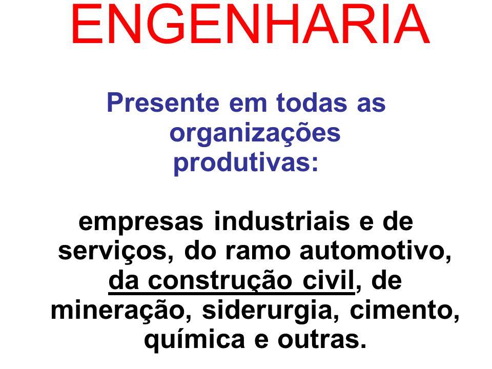 ENGENHARIA Presente em todas as organizações produtivas: empresas industriais e de serviços, do ramo automotivo, da construção civil, de mineração, si